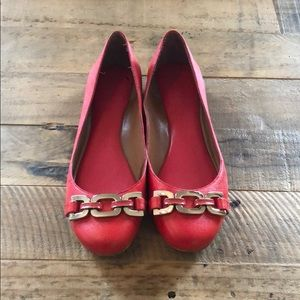 Banana Republic red loafers with gold detail